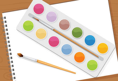 Vector illustration of artist objects. Paints, paper and brushes