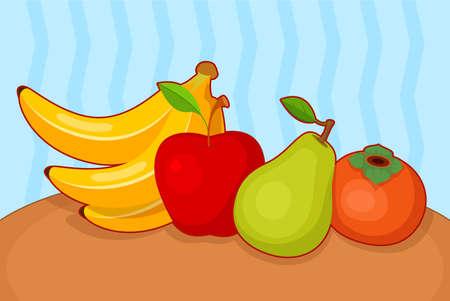 Vector illustration of cartoon set of fruit on blue background