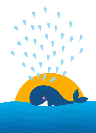 Vector illustration of big blue whale splashing water at the sunset 向量圖像