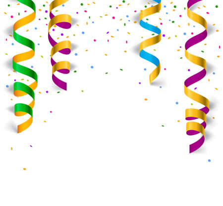Vector illustration of colorful shiny party ribbons with confetti