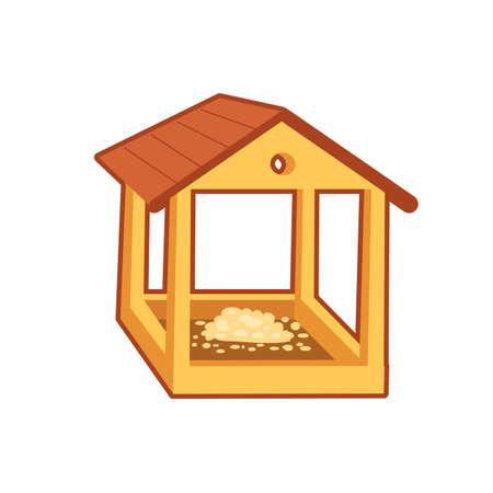 Vector illustration of wooden feeding house for birds