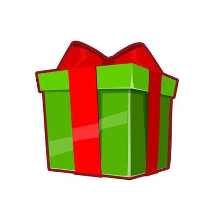 Vector illustration of green gift box on white background 向量圖像