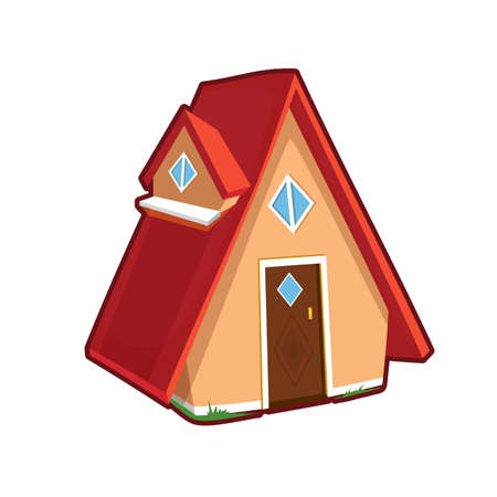 Vector illustration of small house on white background