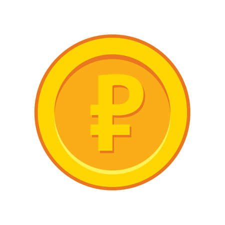 Vector illustration of gold rouble coin on white background 向量圖像