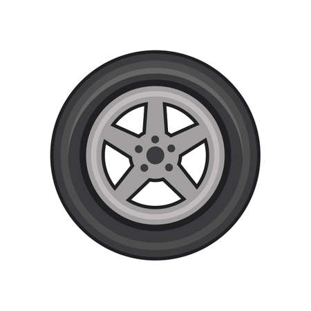 Vector illustration of car tire on white background