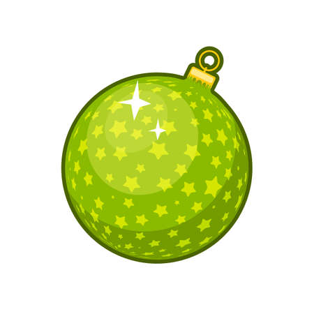 Vector illustration of shiny green Christmas ball on white background 向量圖像