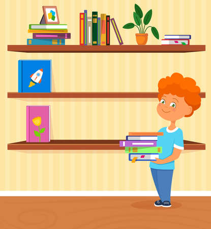 Vector illustration of boy holding books. Room with book shelves.
