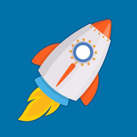 Vector illustration of flying rocket on blue background Ilustração