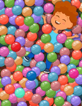 Vector illustration of happy boy lying under the colorful balls