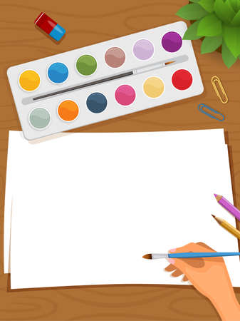 Vector illustration of woman in the process of drawing. Blank paper