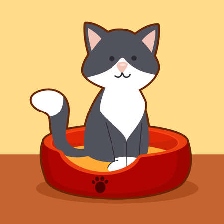 Vector illustration of gray cat siting on cot 向量圖像