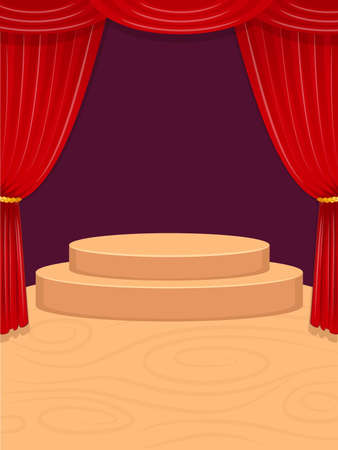 Vector illustration of empty performance stage with red curtains