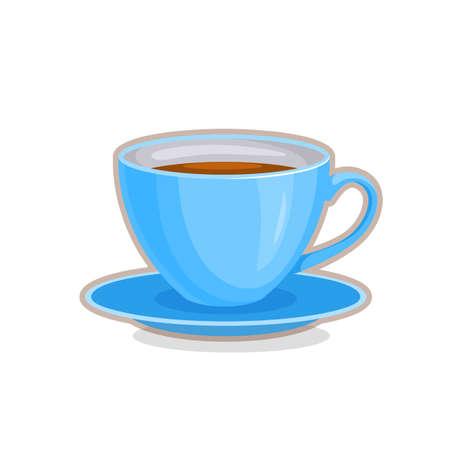 Vector illustration of blue teacup on white background
