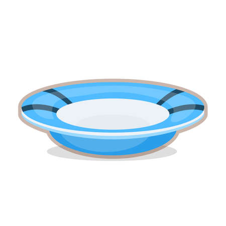 Vector illustration of blue plate on white background