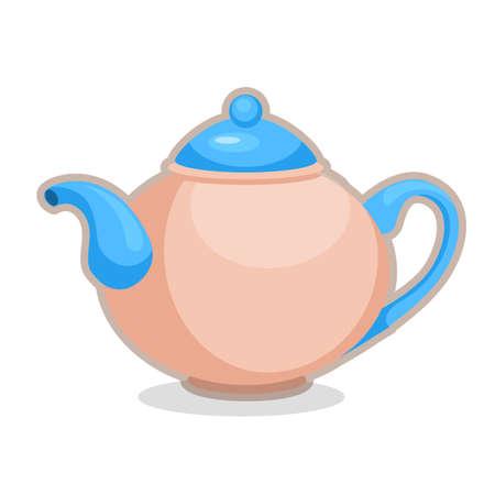 Vector illustration of blue shiny teapot on white background
