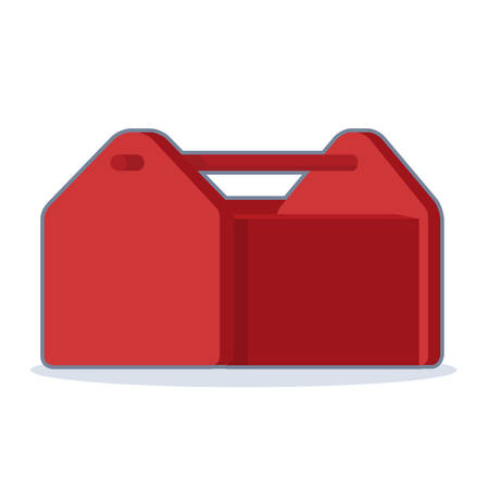 Vector illustration of red toolbox on white background. Illustration