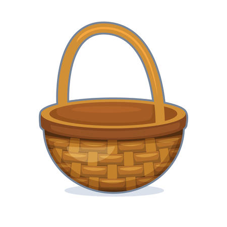 Vector illustration of wicker basket on white background
