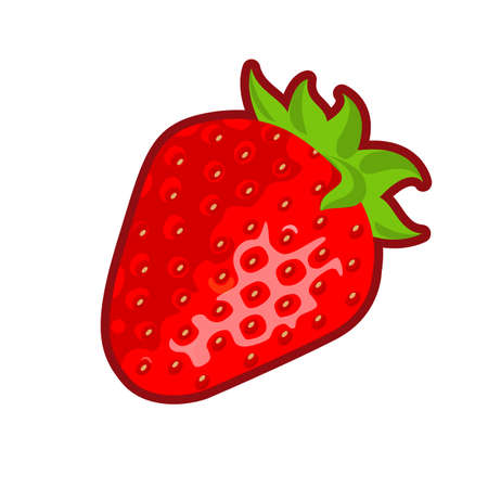 Vector illustration of red ripe strawberry on white background