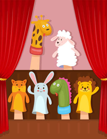 Set of hand animal puppets acting on the stage Фото со стока - 130346659