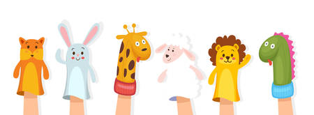 Set of hand animal puppets on white background