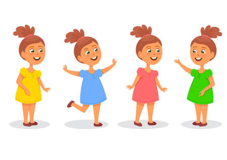 Set of happy girls in different poses. White background  イラスト・ベクター素材