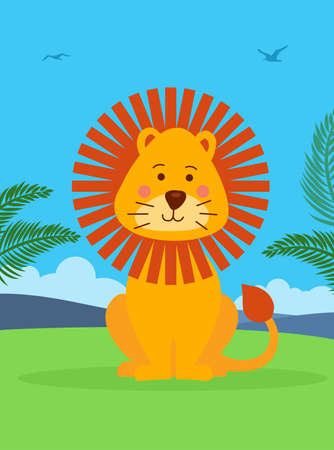 Vector illustration of cute lion sitting on grass. Jungle landscape.