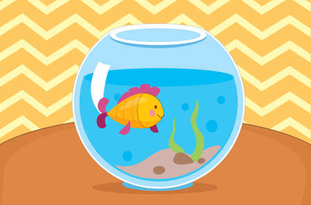 Vector illustration of yellow fish in the aquarium. Indoor interior