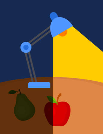 Vector illustration of lamp lighting at the table with apple and pear