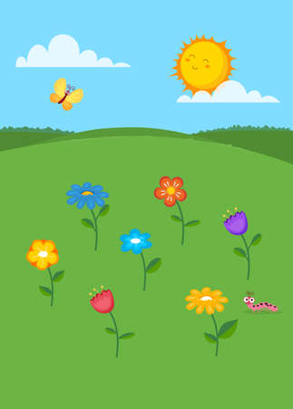 Vector illustration of summer landscape. Colorful flowers, butterfly, caterpillar and sun