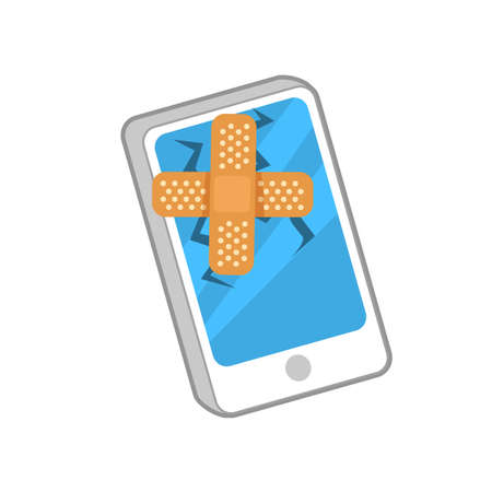 Vector illustration of smartphone with broken screen and plaster on it.