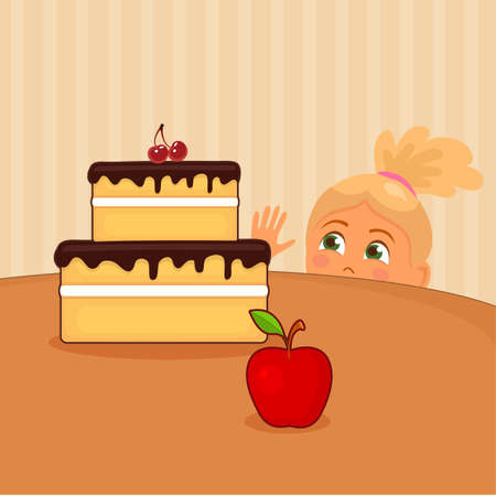 Vector illustration of girl who wishes to take cake on table