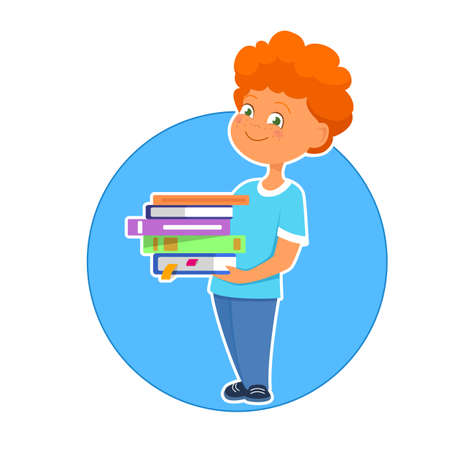 Vector illustration of cute boy holding plenty of books  イラスト・ベクター素材