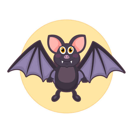 Vector illustration of cute bat on white background