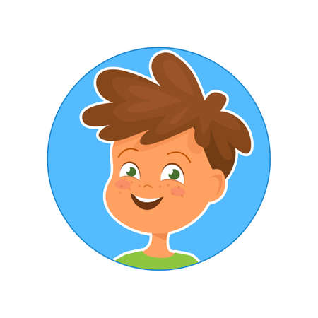 Vector illustration of happy boy on blue background