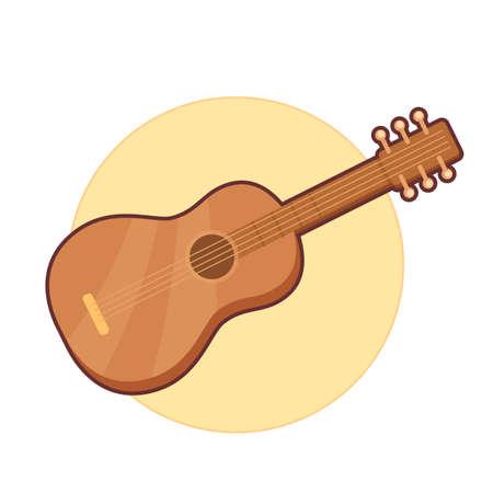 Vector illustration of wooden guitar on yellow background Illustration
