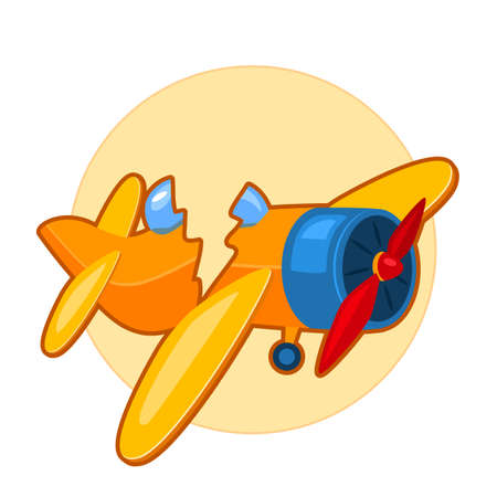 Vector illustration of broken toy airplane on yellow background