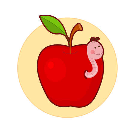 Vector illustration of apple with cute worm in it