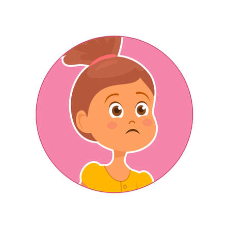 Vector illustration of sad worried girl on pink background