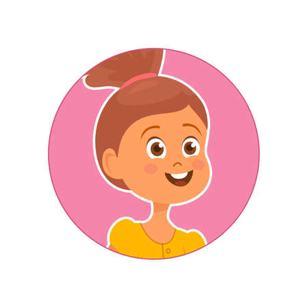 Vector illustration of cute smiling girl on pink background  イラスト・ベクター素材