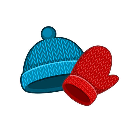Vector illustration of winter cap and mittens on white background