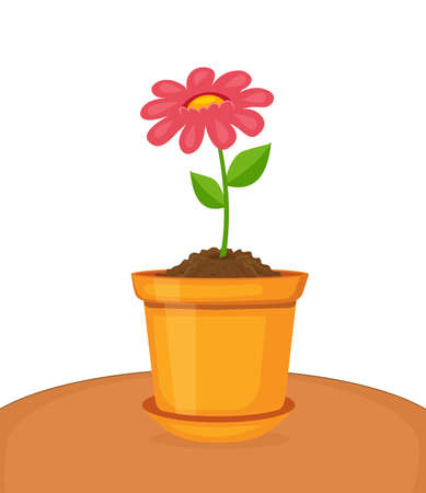 Vector illustration of beautiful flower growing in pot  イラスト・ベクター素材