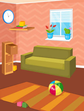 Vector illustration of room interior. Cozy design of home.  イラスト・ベクター素材