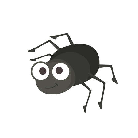 Vector illustration of small cute black bug on white background  イラスト・ベクター素材