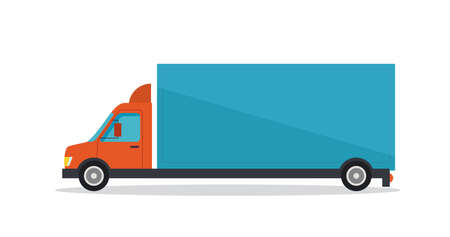 Vector illustration of long blue truck on white background