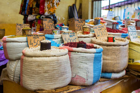 Different kind of legumes are sold in a local market in Africa