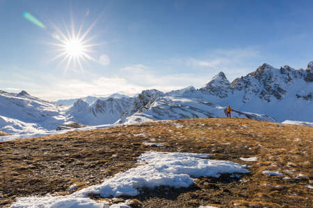 Ski mountaineering allows to enjoy wonderful landscape and train yourself and is becoming a sport trend. Banco de Imagens