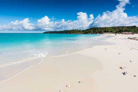 White sand and turquoise sea on this tropical island
