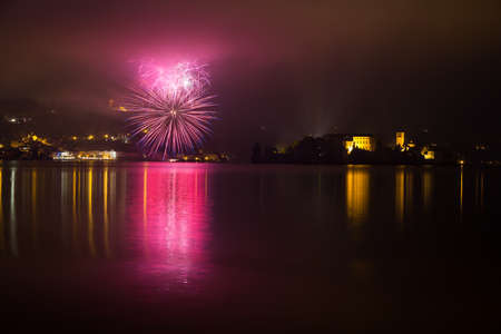 Pyrotechnic show over the romantic village of Orta San Giulio, one of the most appreciated lake destination in Itally