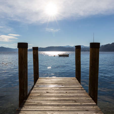 Morning along Lake Orta coast, one of the most famous lake destinations in Italy Banco de Imagens