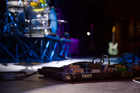 Instruments on the stage of a concert in a club Banco de Imagens
